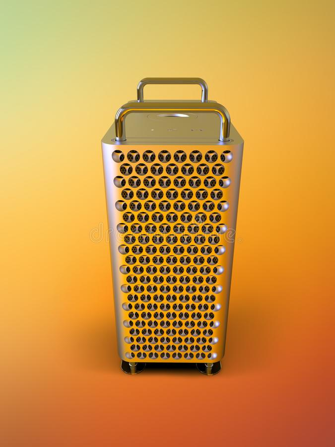 Apple Mac Pro 2019 desktop computer, colorful, frontal. Apple Mac Pro 2019 professional desktop computer system, aluminum tower on stainless steel frame. Cheese stock illustration