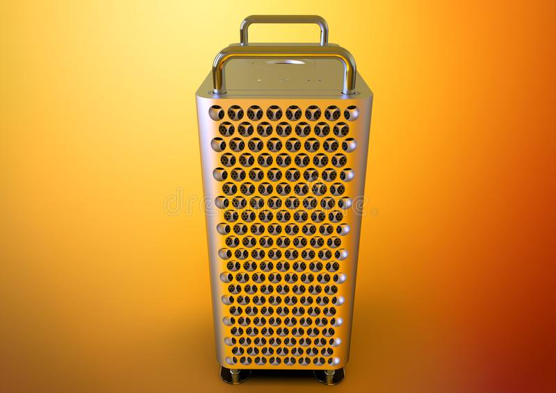 Apple Mac Pro 2019 desktop computer, colorful, frontal. Apple Mac Pro 2019 professional desktop computer system, aluminum tower on stainless steel frame. Cheese vector illustration