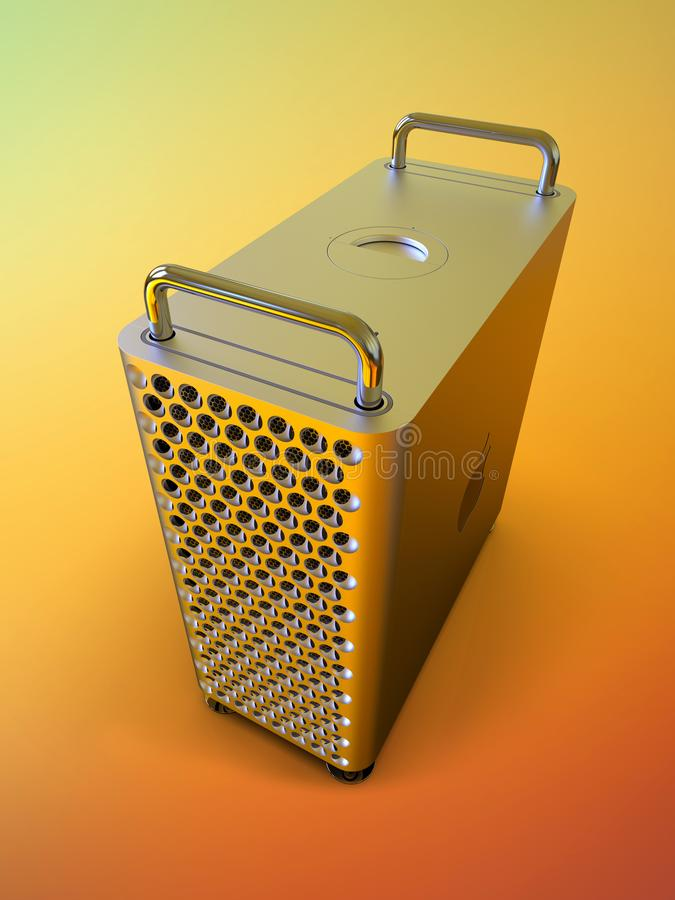 Apple Mac Pro 2019 desktop computer, colorful perspective. June 3, 2019 - San Jose Convention Center, California: Apple Special Event WWDC Keynote. Apple Mac Pro stock illustration