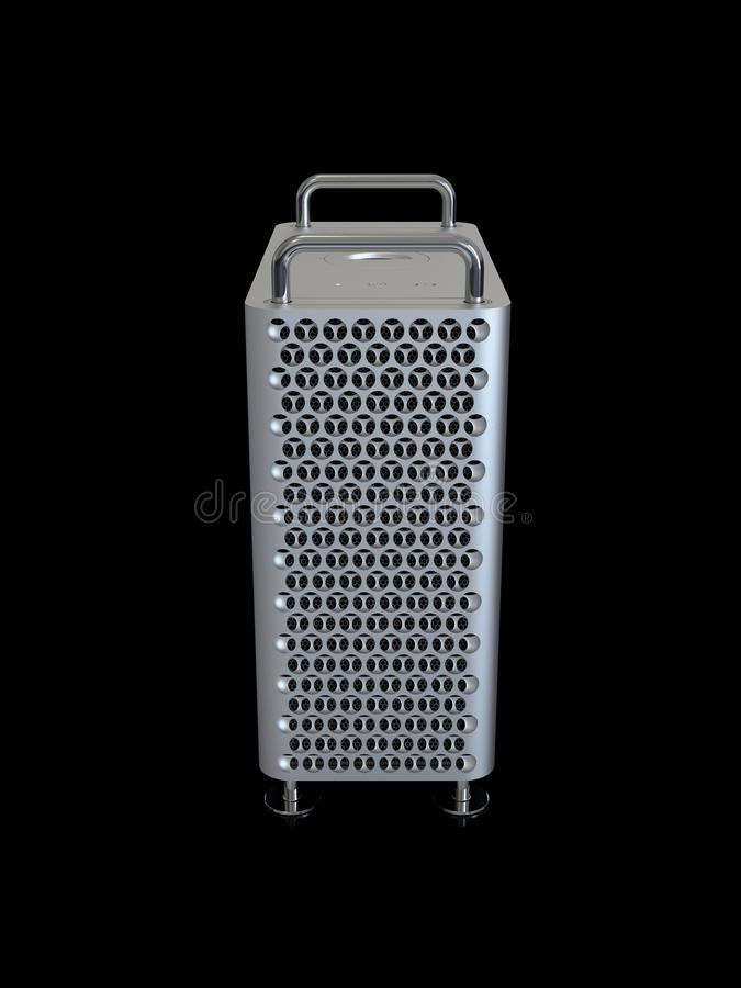Apple Mac Pro 2019 desktop computer, high angle vertical. June 3, 2019 - San Jose Convention Center, California: Apple Special Event WWDC Keynote. Apple Mac Pro vector illustration