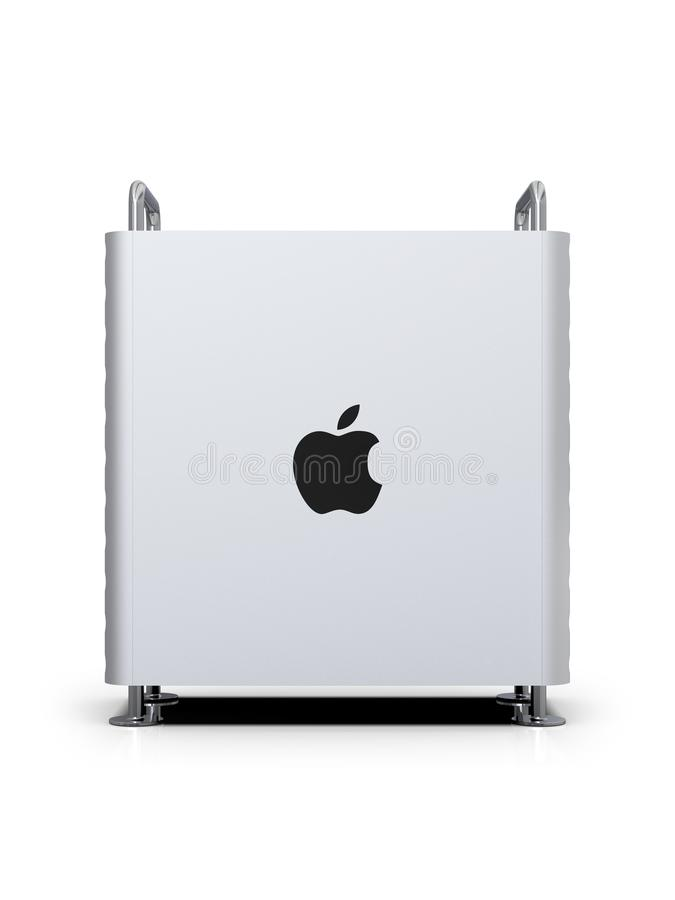 Apple Mac Pro 2019 desktop computer, lateral vertical. June 3, 2019 - San Jose Convention Center, California: Apple Special Event WWDC Keynote. Apple Mac Pro royalty free illustration