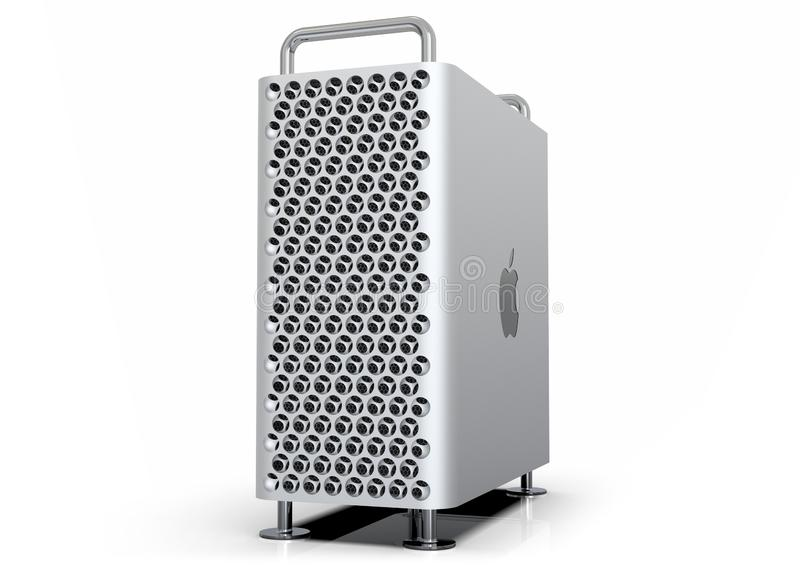 Apple Mac Pro 2019 desktop computer, perspective on white. June 3, 2019 - San Jose Convention Center, California: Apple Special Event WWDC Keynote. Apple Mac Pro royalty free illustration
