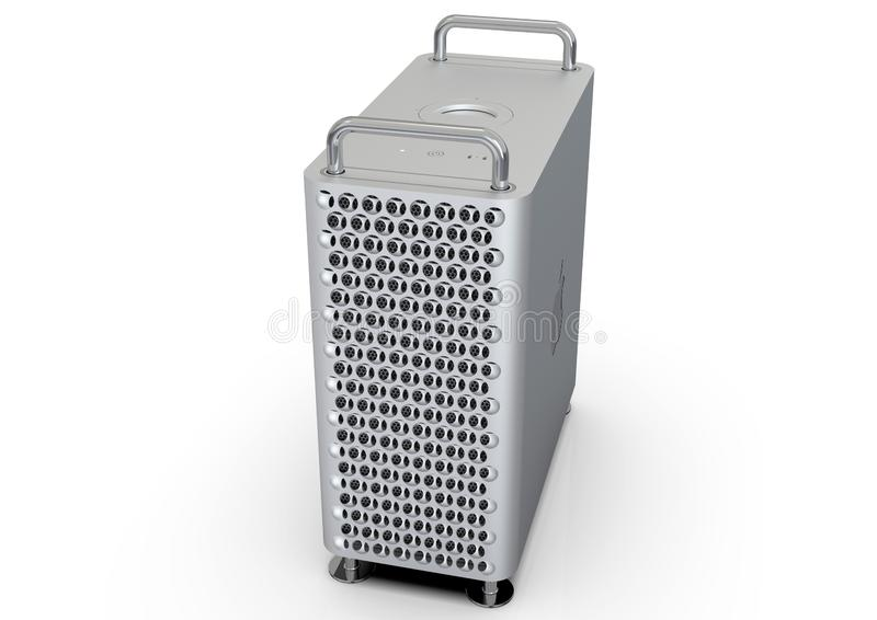 Apple Mac Pro 2019 skrivbords- dator, hög vinkel vektor illustrationer