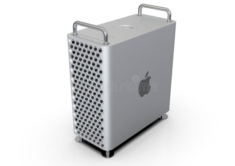 Apple Mac Pro 2019 skrivbords- dator, hög vinkel stock illustrationer
