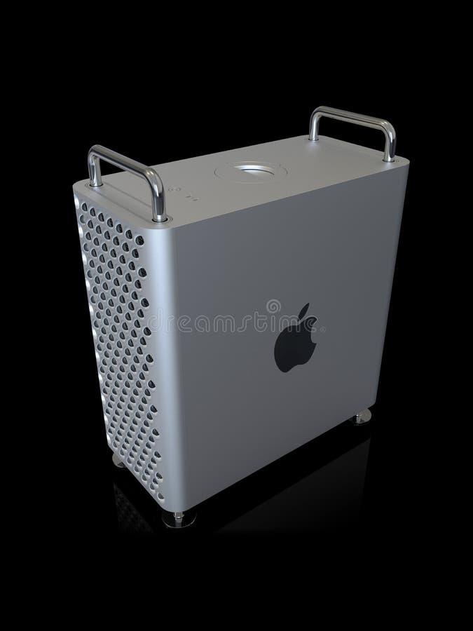 Apple Mac Pro 2019 skrivbords- dator, lodlinje för hög vinkel vektor illustrationer