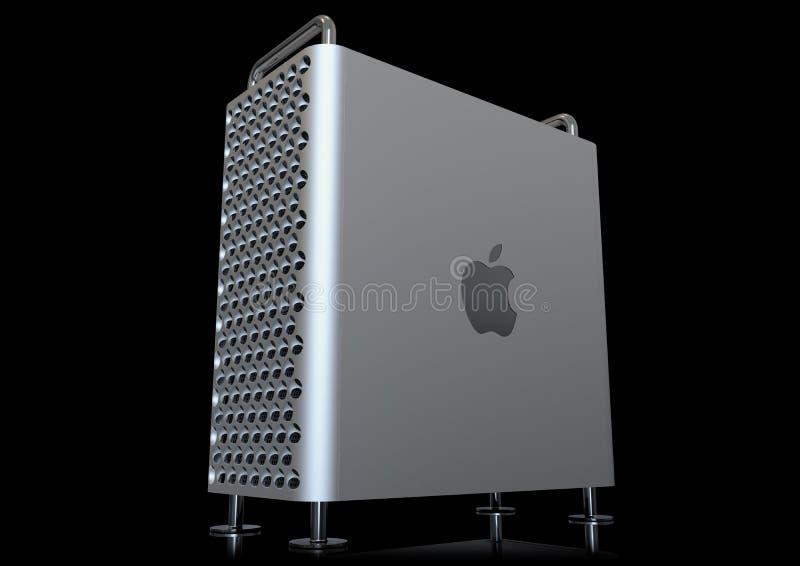 Apple Mac Pro 2019 skrivbords- dator, perspektiv på svart vektor illustrationer