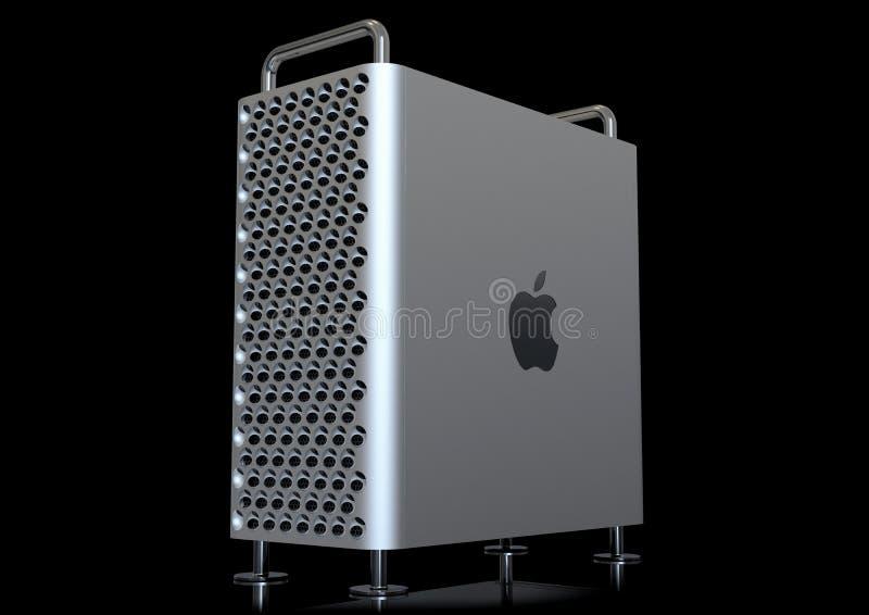 Apple Mac Pro 2019 skrivbords- dator, perspektiv på svart stock illustrationer