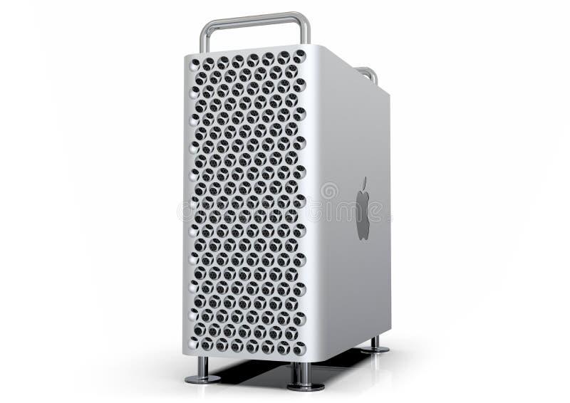 Apple Mac Pro 2019 skrivbords- dator, perspektiv på vit royaltyfri illustrationer