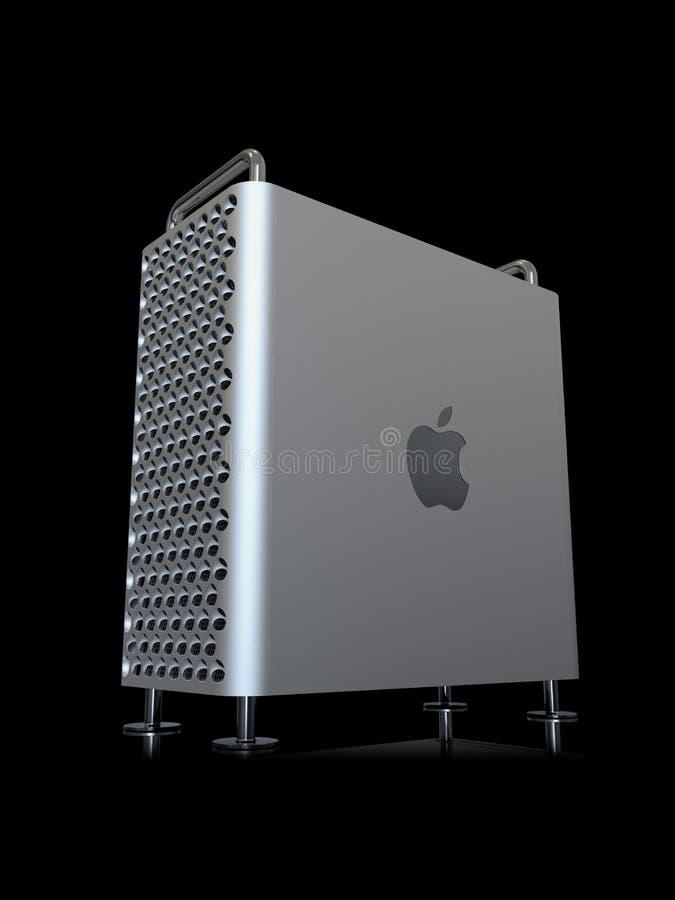 Apple Mac Pro 2019 skrivbords- dator, vertikalt perspektiv royaltyfri illustrationer