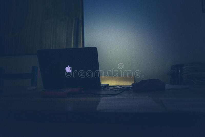 Apple Macbook on Desk royalty free stock photo