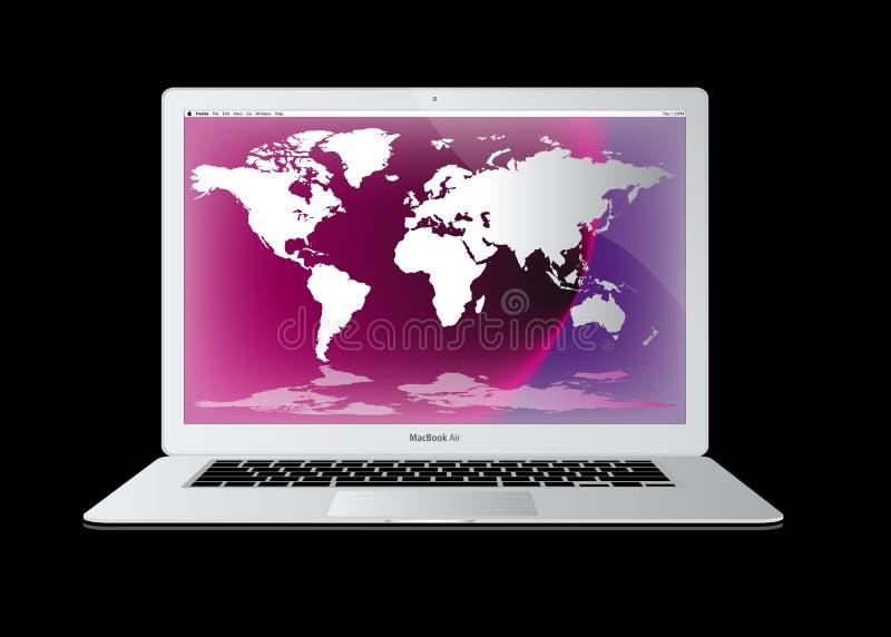 Apple macbook Luft-Schossspitzencomputer stock abbildung