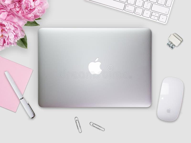 Apple Macbook näthinneräkning på ett skrivbord, tabellen med musen och brevpapper arkivbild