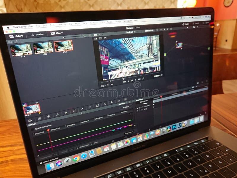 Apple MacBook Pro computer and DaVinci Resolve editing software stock photo