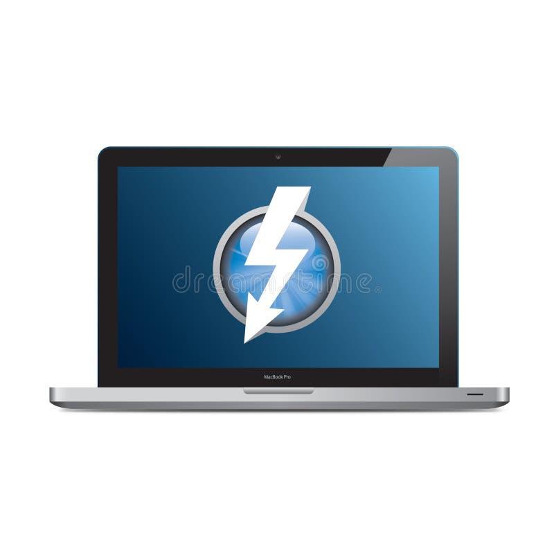 Apple MacBook Pro con il marchio di colpo di fulmine sullo schermo royalty illustrazione gratis