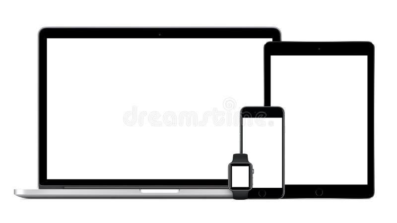 Apple MacBook Pro con reloj del iPhone 6S Apple del iPad gris del espacio el favorable imagen de archivo