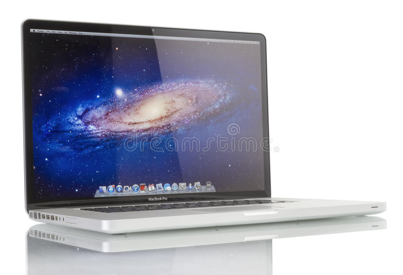 Apple MacBook Pro. Studio shot of brand new Apple MacBook Pro laptop computer by Apple Inc. on a white background. This MacBook Pro has a 17-inch antiglare stock image