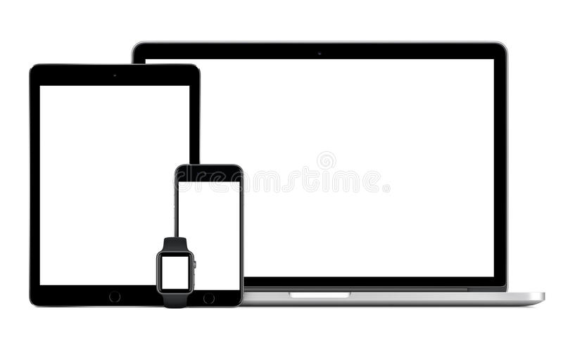 Apple MacBook Pro with Space Gray iPad Pro iPhone 6S Apple Watch royalty free stock photos