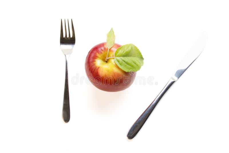 Apple-Mahlzeit-Zeit stockfotos