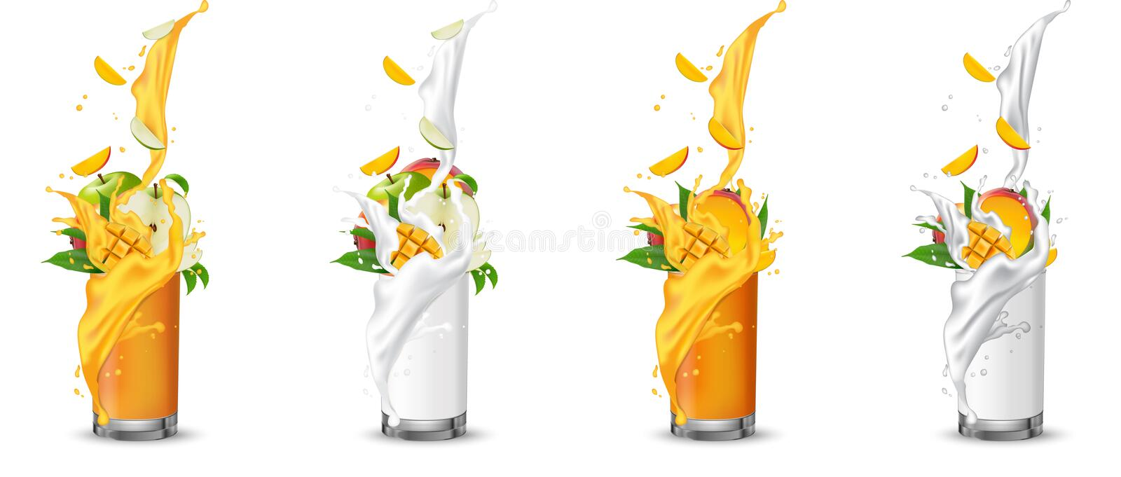 Apple and mango fruit juice splashing into the glass with swirl. Green apple and mango slices falling into the cup. Glass milk juice set. Cocktail mix. Mango stock illustration