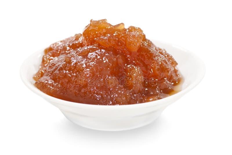 Apple marmalade. On white background stock photo