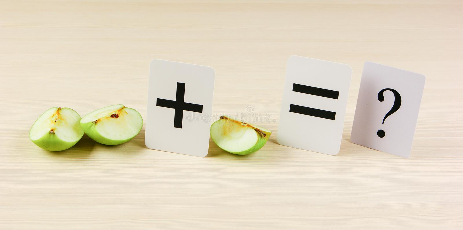 Apple with math problems stock images