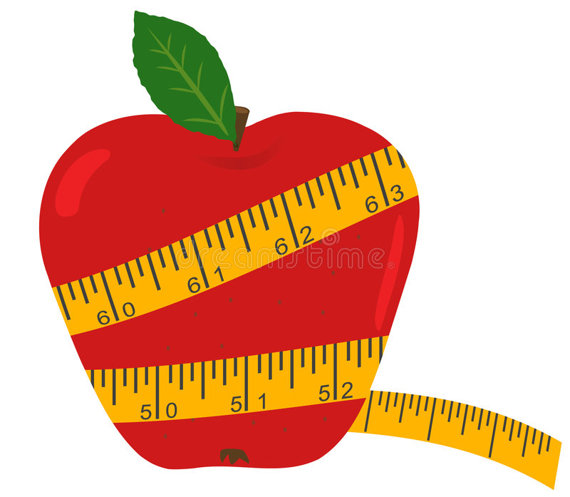 Apple with measuring tape vector illustration