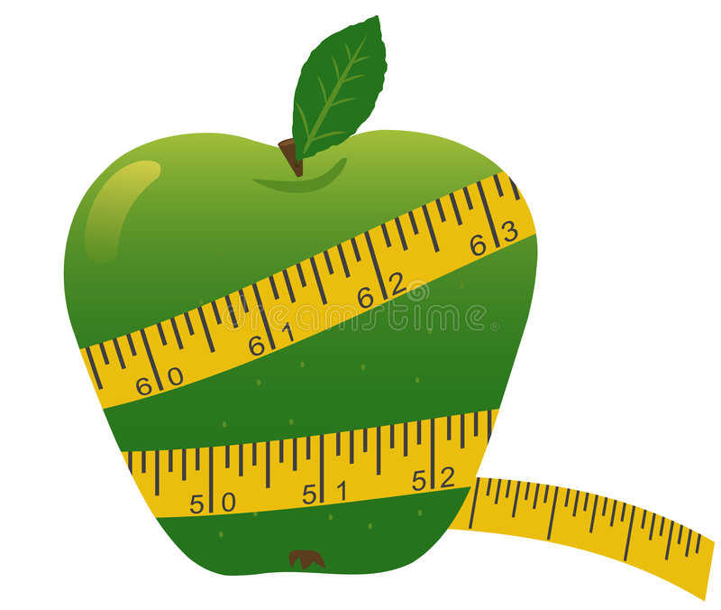 Download Apple with measuring tape stock vector. Image of nutrition - 7377554