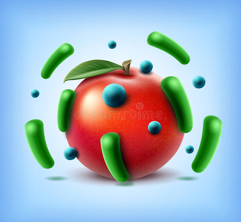 Apple med bakterier royaltyfri illustrationer