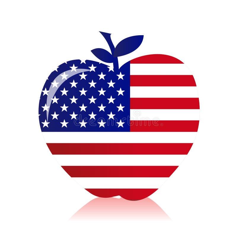 Apple med en amerikanska flagganillustration stock illustrationer