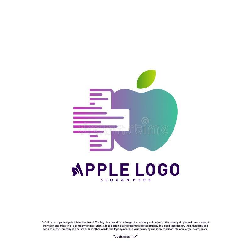 Apple with Medical Plus logo design concept vector. Health Apple Logo vector template. Icon symbol stock illustration