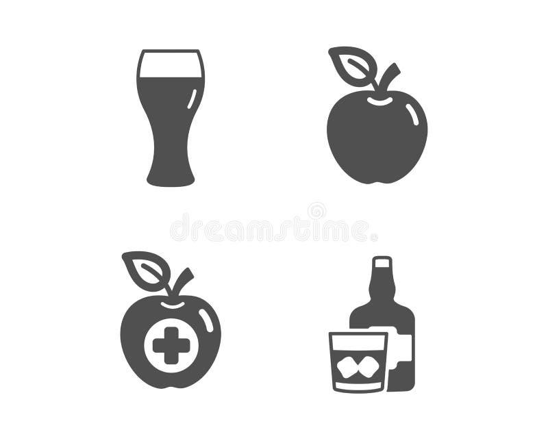 Apple, medicinsk mat och symboler f?r ?lexponeringsglas Whiskyexponeringsglastecken Frukt Apple, bryggeridryck Skotsk whiskydrink stock illustrationer