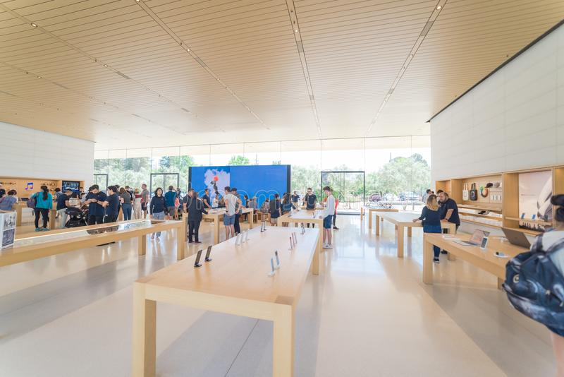 Apple merchandise retail store at Apple Park Visitor Center royalty free stock photo