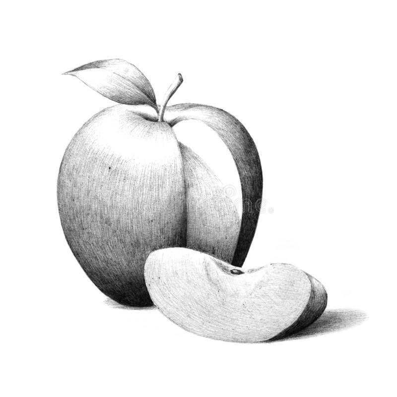 Apple met de illustratie van de appelplak, de hand getrokken schets van het appelfruit royalty-vrije illustratie