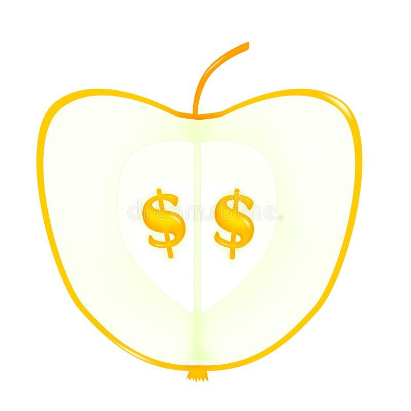 Apple met dollarzaden vector illustratie