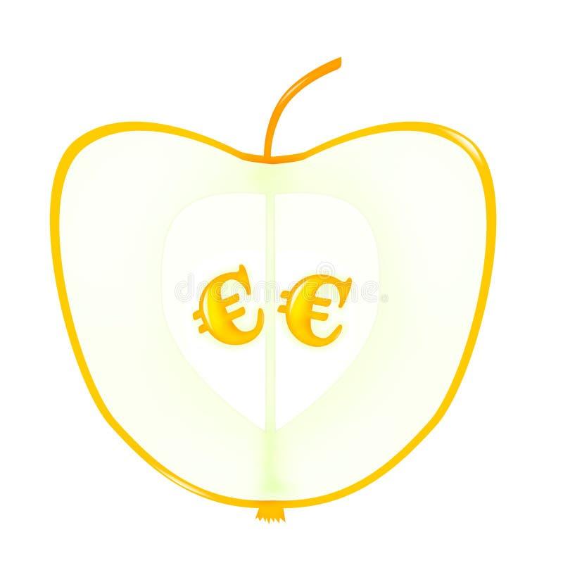 Apple met euro zaden stock illustratie