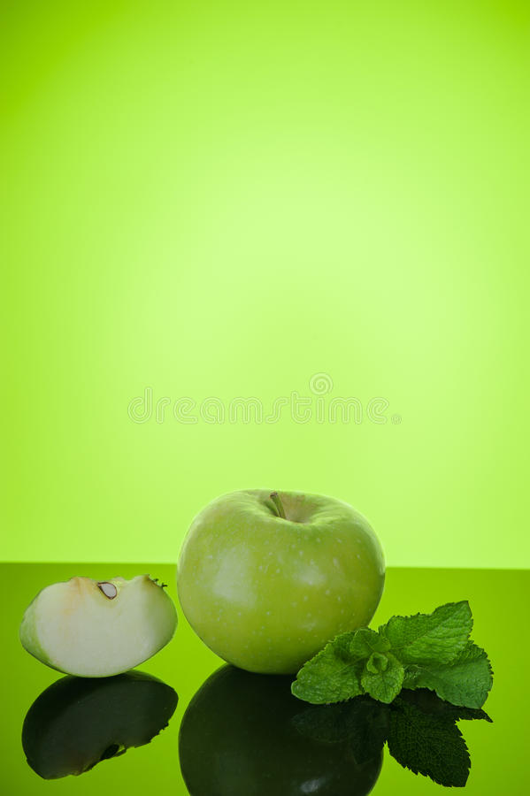 Download Apple with mint on green stock image. Image of nature - 39685569