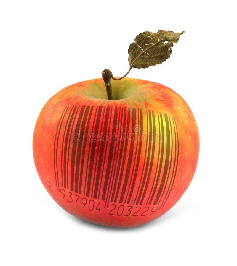 Apple mit Strichkode stockbild