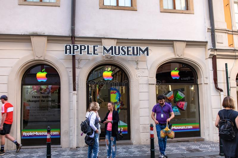 Apple museum in Prague. PRAGUE, CZECH REPUBLIC - MAY 31, 2017: Apple Museum in Prague. It is located in Husova Street, The Old Town stock images