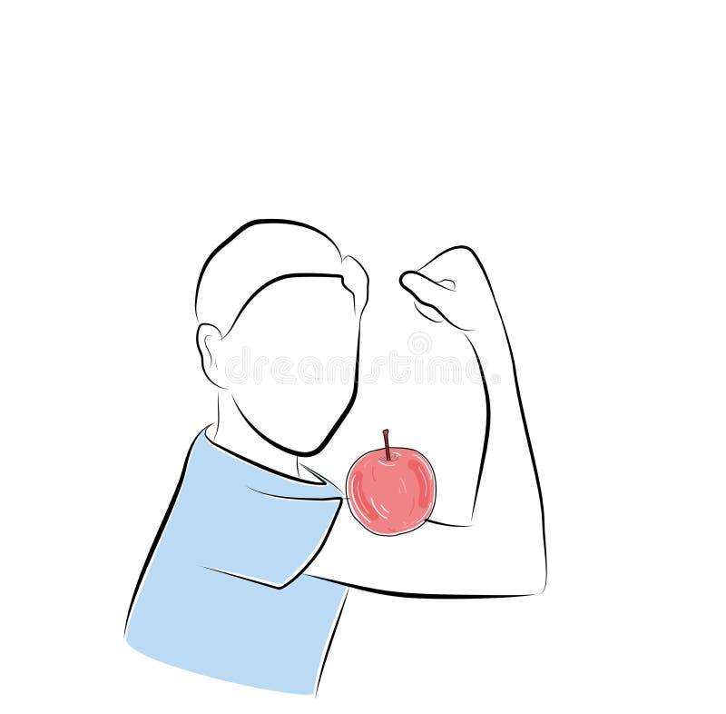 Apple na bicep w chłopiec Pojęcie zdrowy łasowanie również zwrócić corel ilustracji wektora royalty ilustracja