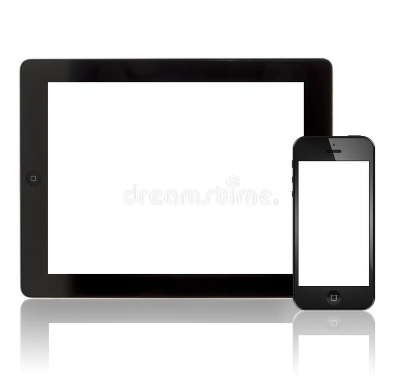 Apple New iPad 3 and iPhone 5 royalty free stock photo