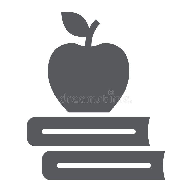 Apple no ícone do glyph dos livros, educação escolar ilustração royalty free