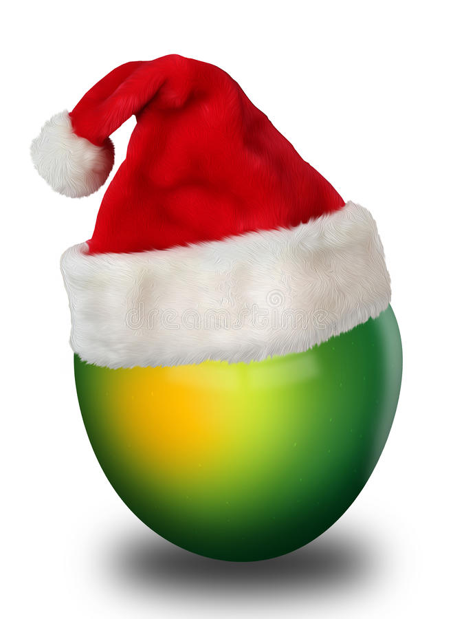 Apple no chapéu de Santa Claus fotos de stock