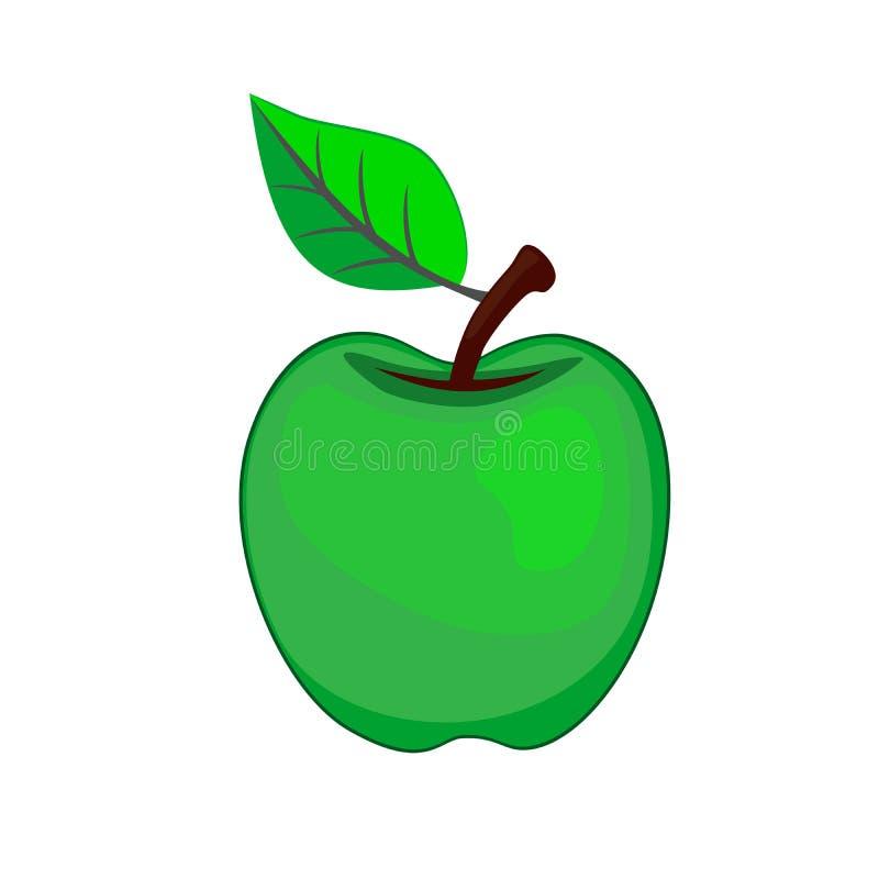 Apple no logotipo verde do ícone com a folha no fundo branco ilustração do vetor