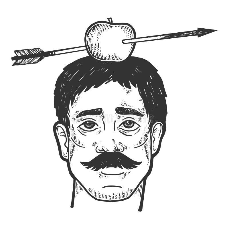 Apple no tiro com vetor da gravura do esboço da seta ilustração stock