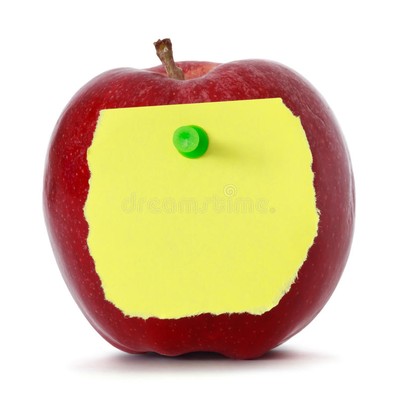 Apple with note paper stock photos