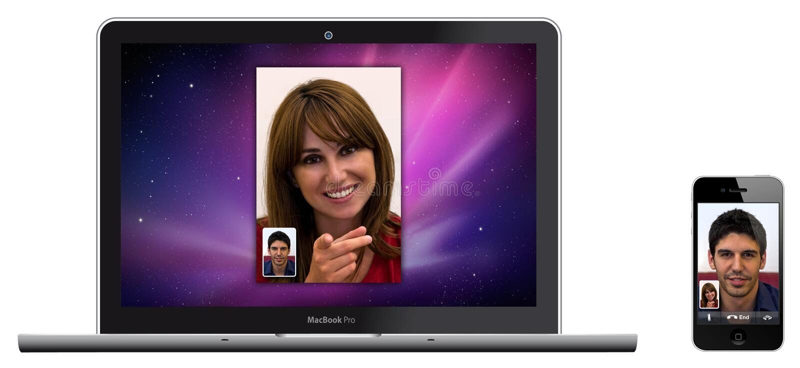 Apple novo MacBook Pro e tempo de face do whit do iPhone 4 ilustração do vetor