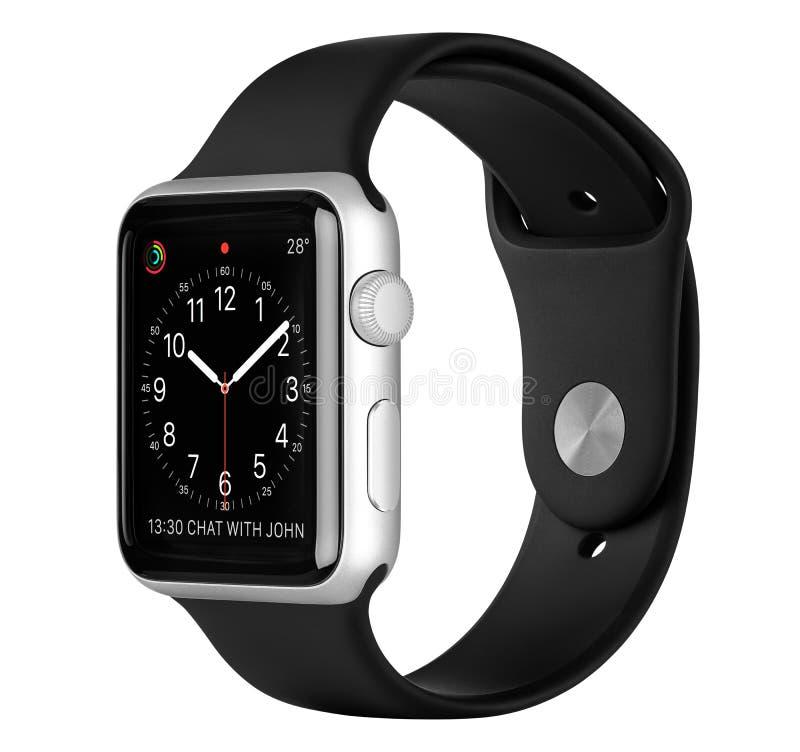 Apple observent le cas en aluminium argenté de sport avec la bande noire de sport photo libre de droits