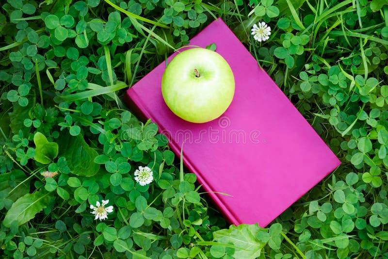 Apple och bok på gräs Utbildningsbegrepp, tillbaka till skolan arkivfoto