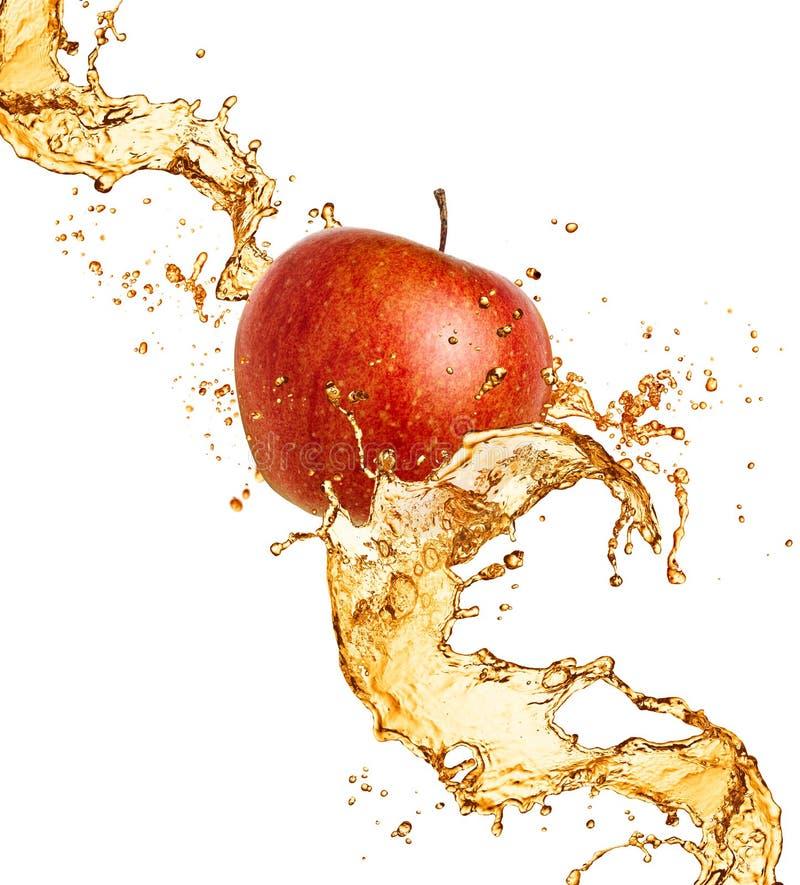 Apple och fruktsaftfärgstänk royaltyfri fotografi