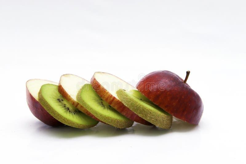 Apple och kiwi royaltyfria foton